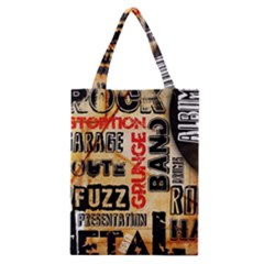 Guitar Typography Classic Tote Bag