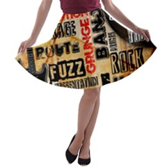 Guitar Typography A Line Skater Skirt