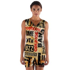 Guitar Typography Wrap Front Bodycon Dress