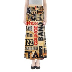 Guitar Typography Maxi Skirts