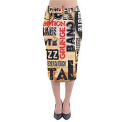 Guitar Typography Velvet Midi Pencil Skirt