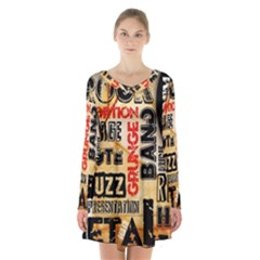 Guitar Typography Long Sleeve Velvet V Neck Dress