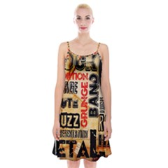 Guitar Typography Spaghetti Strap Velvet Dress
