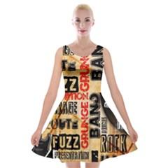 Guitar Typography Velvet Skater Dress