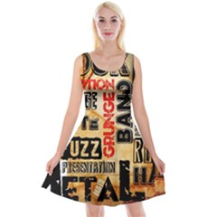 Guitar Typography Reversible Velvet Sleeveless Dress