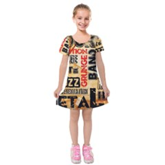 Guitar Typography Kids  Short Sleeve Velvet Dress