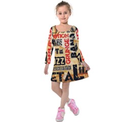 Guitar Typography Kids  Long Sleeve Velvet Dress