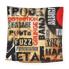 Guitar Typography Square Tapestry (large)