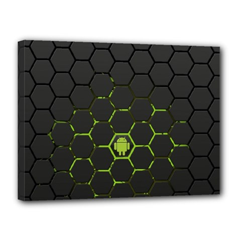 Green Android Honeycomb Gree Canvas 16  X 12