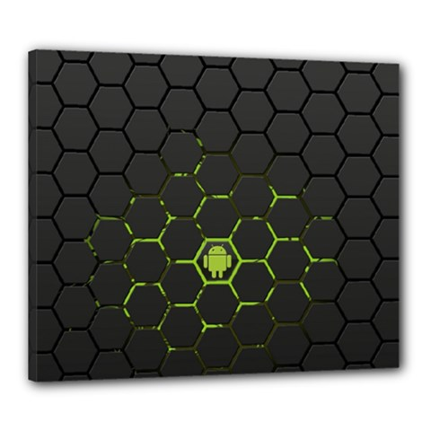Green Android Honeycomb Gree Canvas 24  x 20