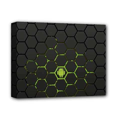 Green Android Honeycomb Gree Deluxe Canvas 14  x 11