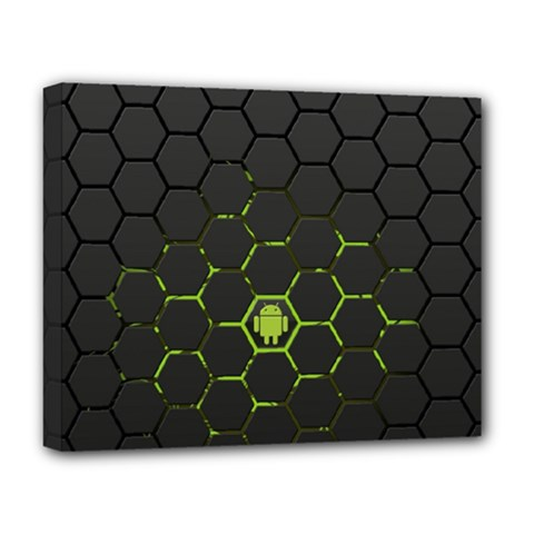 Green Android Honeycomb Gree Deluxe Canvas 20  x 16