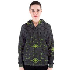 Green Android Honeycomb Gree Women s Zipper Hoodie
