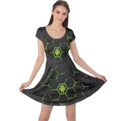 Green Android Honeycomb Gree Cap Sleeve Dresses