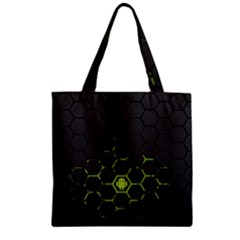 Green Android Honeycomb Gree Zipper Grocery Tote Bag