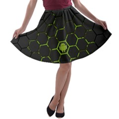Green Android Honeycomb Gree A-line Skater Skirt