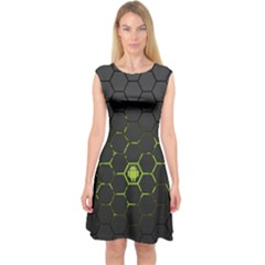 Green Android Honeycomb Gree Capsleeve Midi Dress