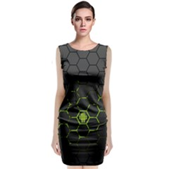 Green Android Honeycomb Gree Sleeveless Velvet Midi Dress