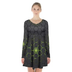 Green Android Honeycomb Gree Long Sleeve Velvet V Neck Dress