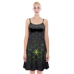 Green Android Honeycomb Gree Spaghetti Strap Velvet Dress