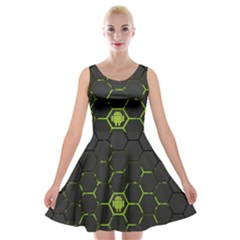 Green Android Honeycomb Gree Velvet Skater Dress