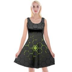 Green Android Honeycomb Gree Reversible Velvet Sleeveless Dress