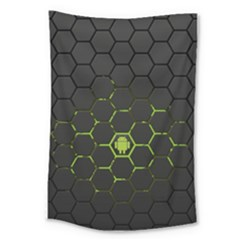 Green Android Honeycomb Gree Large Tapestry