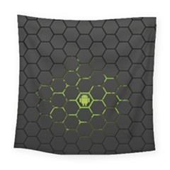 Green Android Honeycomb Gree Square Tapestry (Large)