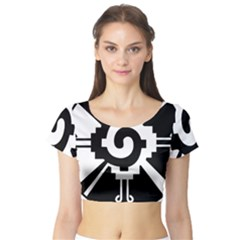 Maya Calendar Native American Religion Short Sleeve Crop Top (tight Fit)