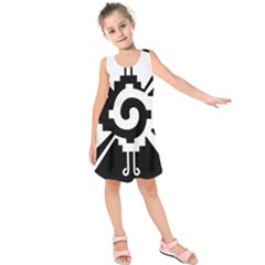 Maya Calendar Native American Religion Kids  Sleeveless Dress