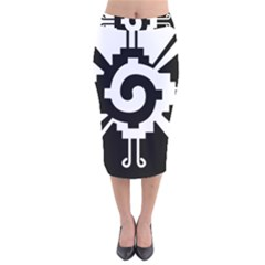 Maya Calendar Native American Religion Velvet Midi Pencil Skirt