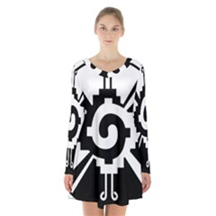 Maya Calendar Native American Religion Long Sleeve Velvet V Neck Dress
