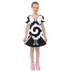 Maya Calendar Native American Religion Kids  Short Sleeve Velvet Dress