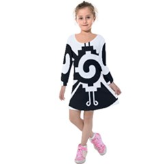 Maya Calendar Native American Religion Kids  Long Sleeve Velvet Dress