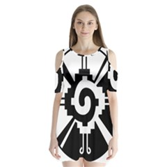 Maya Calendar Native American Religion Shoulder Cutout Velvet  One Piece