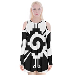Maya Calendar Native American Religion Velvet Long Sleeve Shoulder Cutout Dress