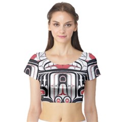 Ethnic Traditional Art Short Sleeve Crop Top (tight Fit)