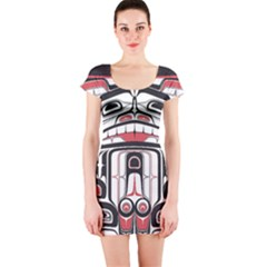Ethnic Traditional Art Short Sleeve Bodycon Dress