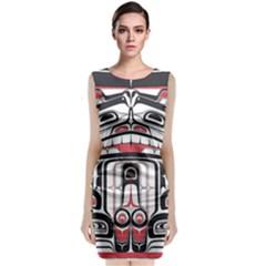 Ethnic Traditional Art Sleeveless Velvet Midi Dress