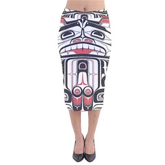 Ethnic Traditional Art Velvet Midi Pencil Skirt