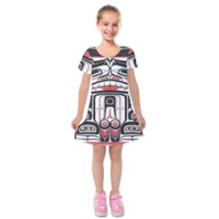 Ethnic Traditional Art Kids  Short Sleeve Velvet Dress