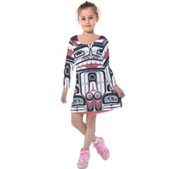 Ethnic Traditional Art Kids  Long Sleeve Velvet Dress