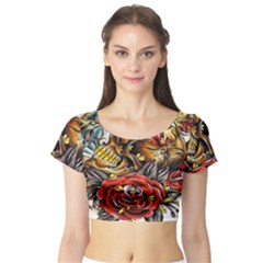 Flower Art Traditional Short Sleeve Crop Top (tight Fit)