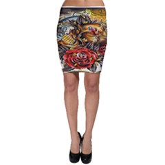 Flower Art Traditional Bodycon Skirt
