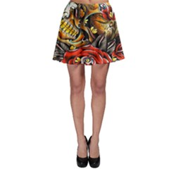 Flower Art Traditional Skater Skirt