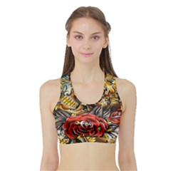 Flower Art Traditional Sports Bra with Border
