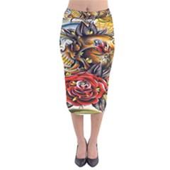 Flower Art Traditional Velvet Midi Pencil Skirt