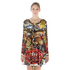 Flower Art Traditional Long Sleeve Velvet V Neck Dress