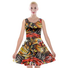 Flower Art Traditional Velvet Skater Dress