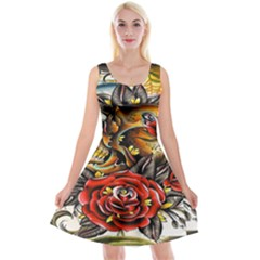 Flower Art Traditional Reversible Velvet Sleeveless Dress